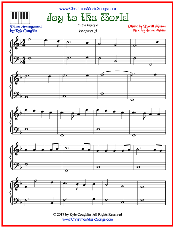 Simple version of piano sheet music for Joy to the World