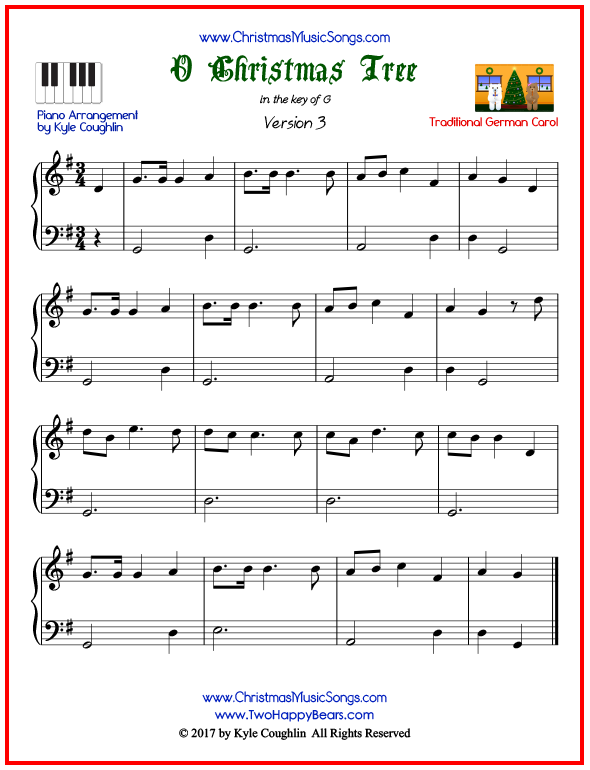 Simple version of piano sheet music for O Christmas Tree