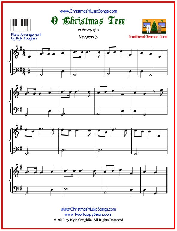 O Christmas Tree piano sheet music - free printable PDF