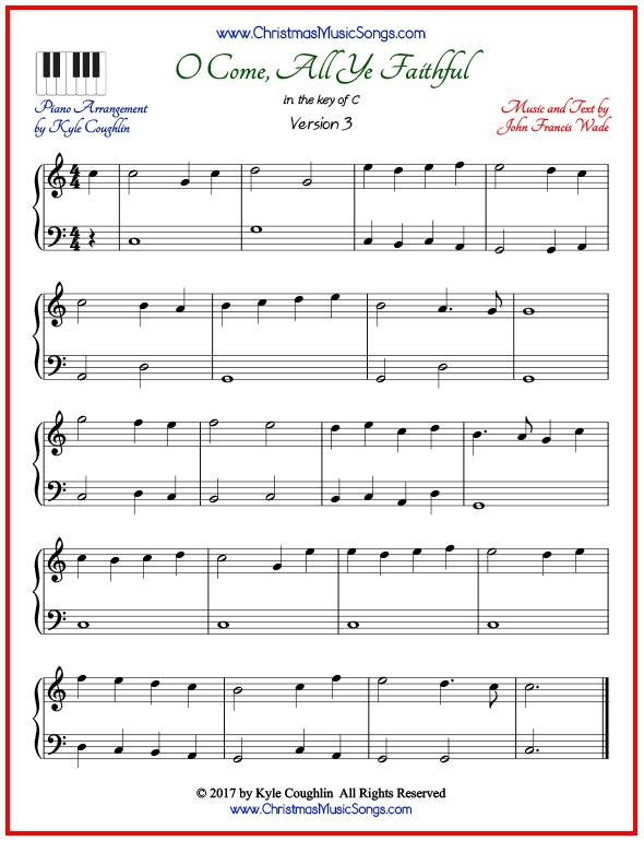 graphic about Free Printable Gospel Sheet Music for Piano titled O Appear, All Ye Trustworthy piano sheet songs - no cost printable PDF