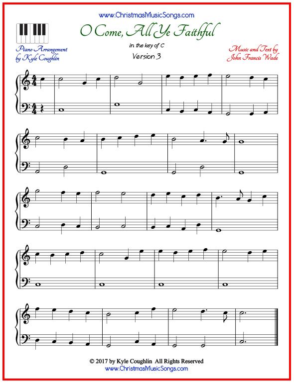 O Come, All Ye Faithful piano sheet music - free printable PDF