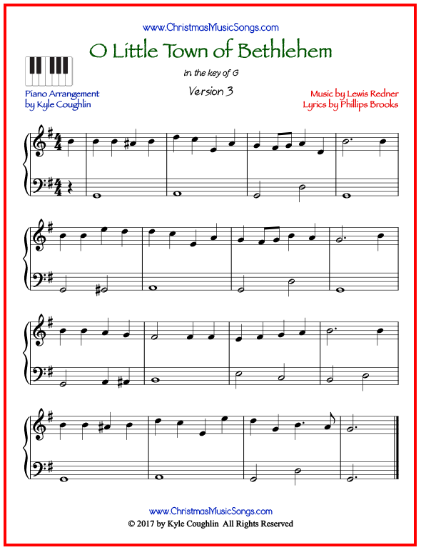 Simple version of piano sheet music for O Little Town of Bethlehem
