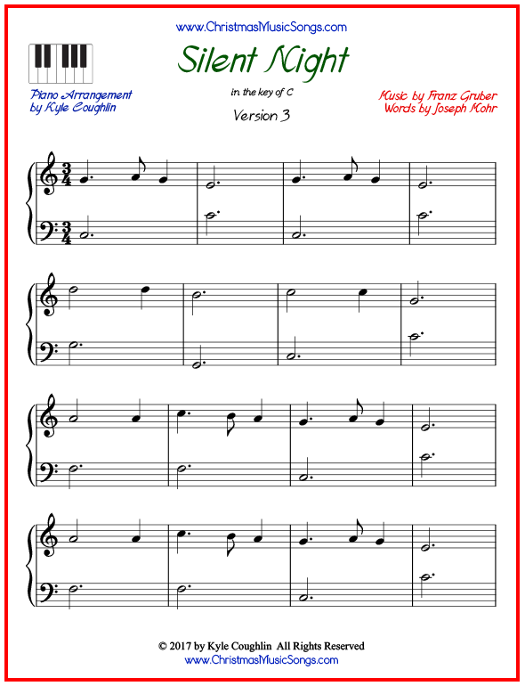 Simple version of piano sheet music for Silent Night