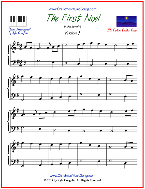 Simple version of piano sheet music for The First Noel