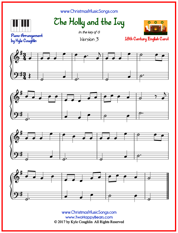 Simple version of piano sheet music for The Holly and the Ivy