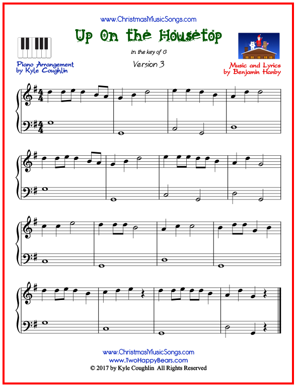 Simple version of piano sheet music for Up On the Housetop