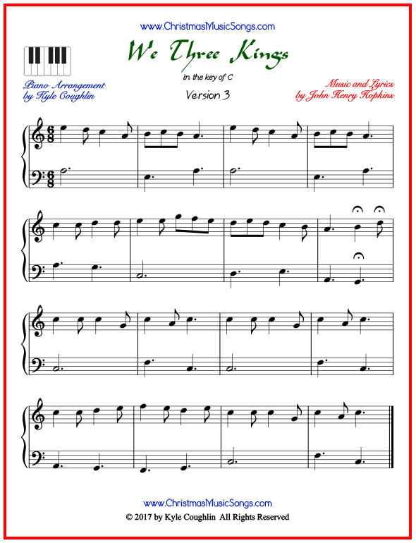 Simple version of piano sheet music for We Three Kings