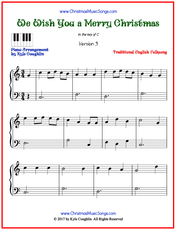 Simple version of piano sheet music for We Wish You a Merry Christmas