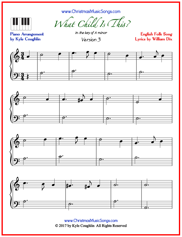 Simple version of piano sheet music for What Child Is This