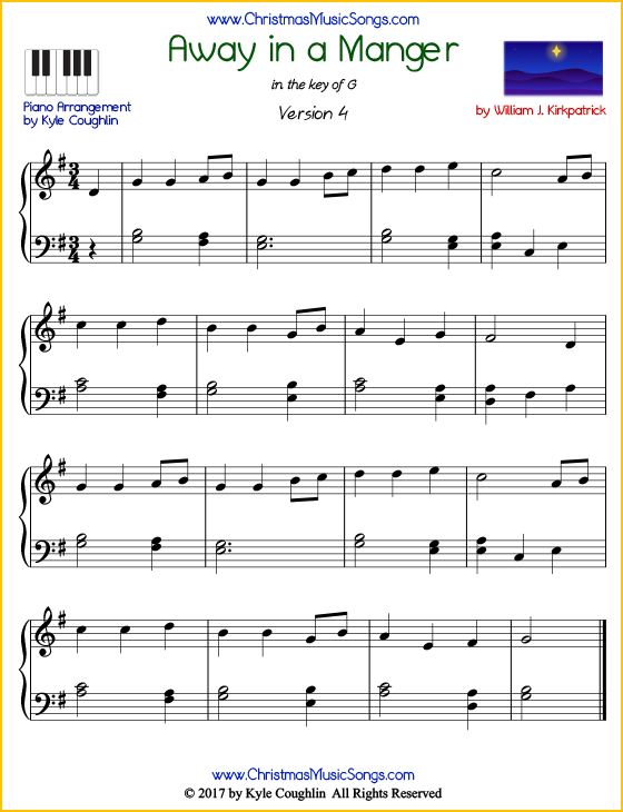 Intermediate version of piano sheet music for Away in a Manger by William J. Kirkpatrick.  Free printable PDF.
