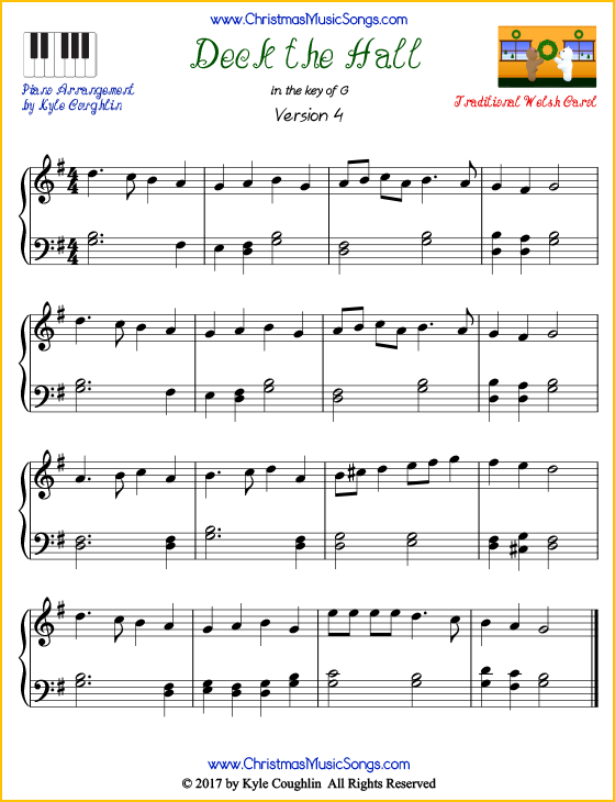 intermediate version of piano sheet music for deck the hall free printable pdf