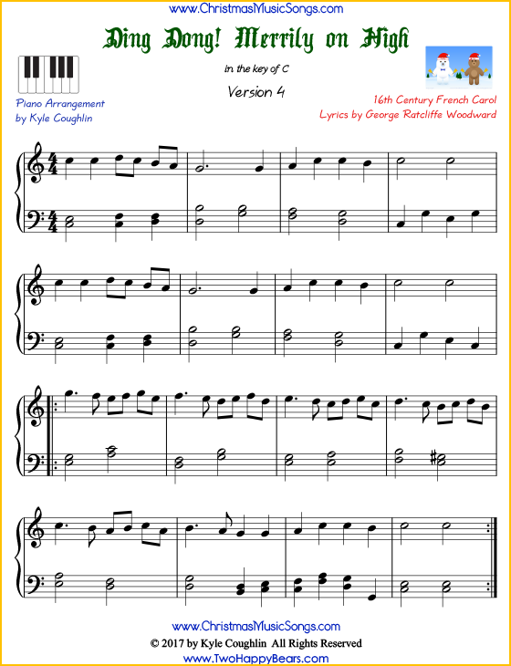 Ding Dong! Merrily on High intermediate piano sheet music. Free printable PDF at www.ChristmasMusicSongs.com