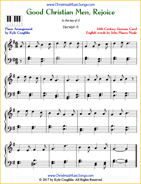 Good Christian Men, Rejoice intermediate piano sheet music. Free printable PDF at www.ChristmasMusicSongs.com