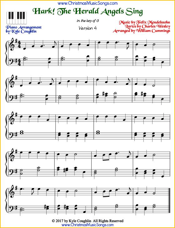hark! the herald angels sing piano sheet music - free printable pdf  christmas carol sheet music