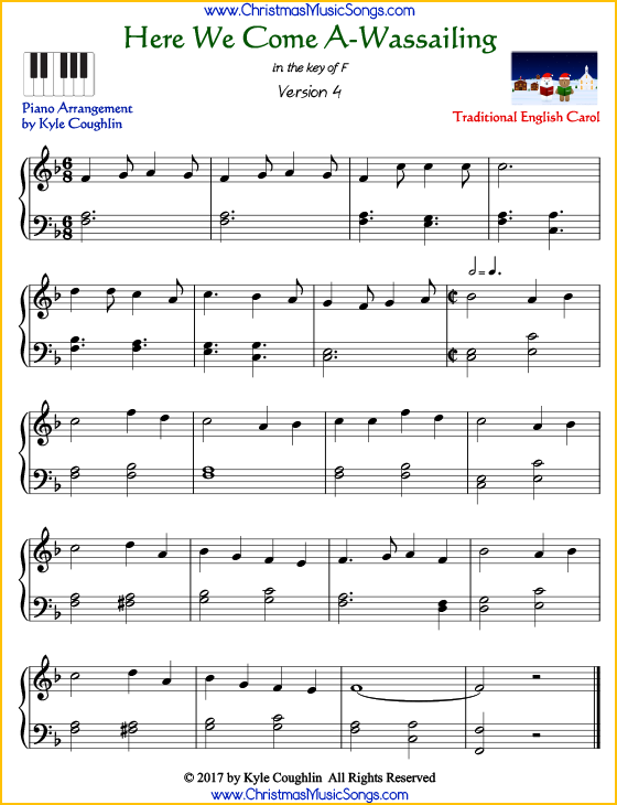 Here We Come A-Wassailing intermediate piano sheet music. Free printable PDF at www.ChristmasMusicSongs.com