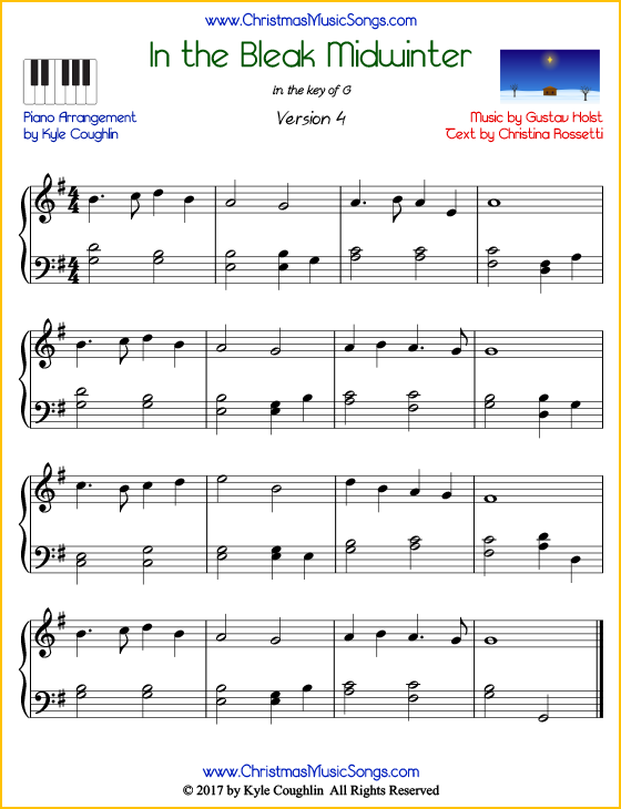 In the Bleak Midwinter intermediate piano sheet music. Free printable PDF at www.ChristmasMusicSongs.com