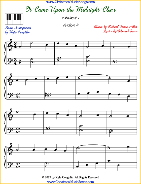 It Came Upon the Midnight Clear intermediate piano sheet music. Free printable PDF at www.ChristmasMusicSongs.com