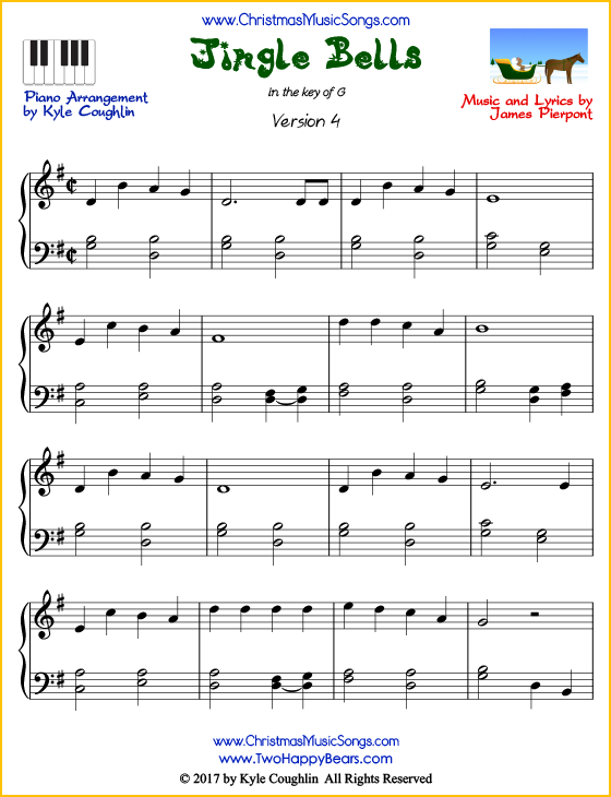 image about Free Printable Christmas Sheet Music for Piano titled Jingle Bells piano sheet tunes - free of charge printable PDF