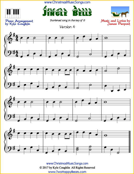 Jingle Bells For Piano Short Version Free Sheet Music