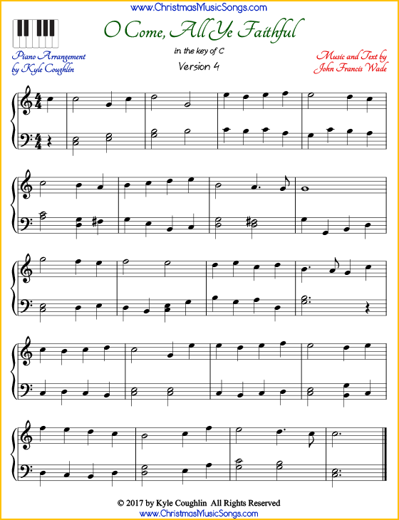 photograph relating to Free Printable Gospel Sheet Music for Piano referred to as O Arrive, All Ye Devoted piano sheet songs - totally free printable PDF