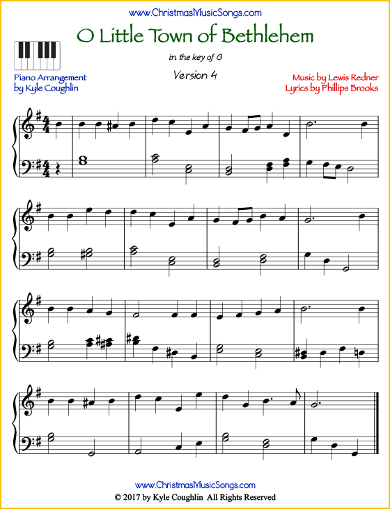 O Little Town of Bethlehem intermediate piano sheet music. Free printable PDF at www.ChristmasMusicSongs.com