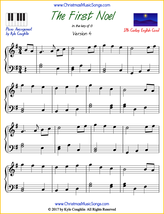 The First Noel intermediate piano sheet music. Free printable PDF at www.ChristmasMusicSongs.com