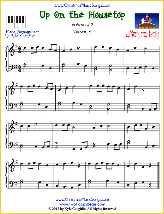 Up On the Housetop piano sheet music - free printable PDF