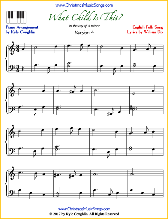 What Child Is This intermediate piano sheet music. Free printable PDF at www.ChristmasMusicSongs.com