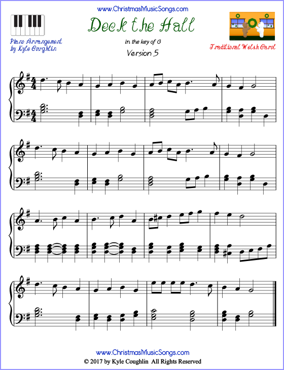 photo about Christmas Songs Piano Sheet Music Free Printable named Deck the Halls piano sheet songs - no cost printable PDF