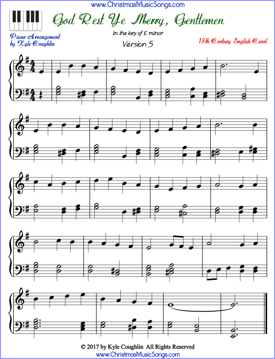 image about Christmas Carols Sheet Music Free Printable named God Take it easy Ye Merry, Adult males piano sheet songs - cost-free