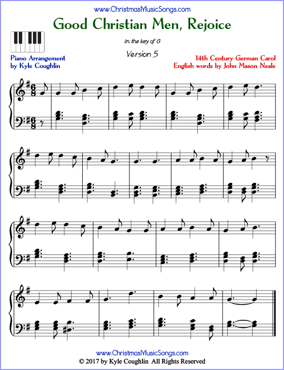 Good Christian Men, Rejoice advanced piano sheet music. Free printable PDF at www.ChristmasMusicSongs.com