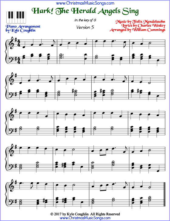 picture relating to Christmas Songs Piano Sheet Music Free Printable identify Hark! The Herald Angels Sing piano sheet tunes - free of charge