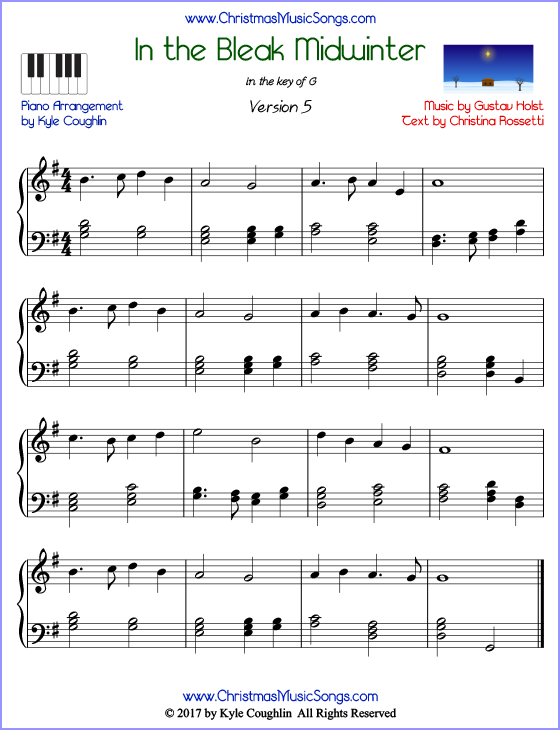 In the Bleak Midwinter advanced piano sheet music. Free printable PDF at www.ChristmasMusicSongs.com