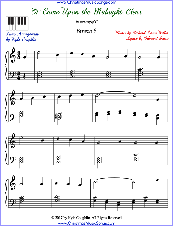 It Came Upon the Midnight Clear advanced piano sheet music. Free printable PDF at www.ChristmasMusicSongs.com