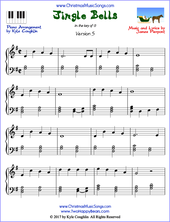 image relating to Free Printable Christmas Songs named Jingle Bells piano sheet tunes - absolutely free printable PDF