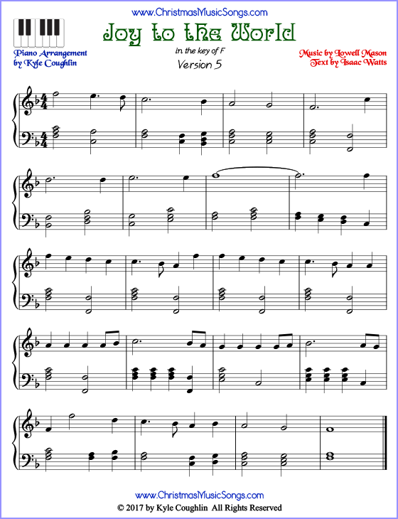 Joy to the World advanced piano sheet music. Free printable PDF at www.ChristmasMusicSongs.com
