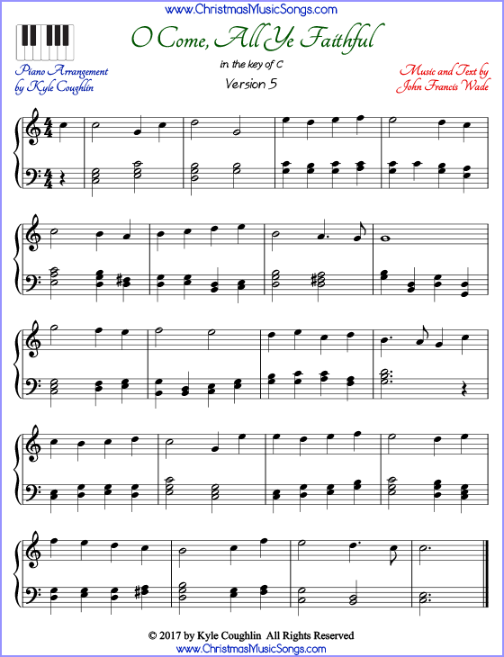 photo regarding Free Printable Christmas Sheet Music for Piano identified as O Occur, All Ye Trustworthy piano sheet songs - no cost printable PDF