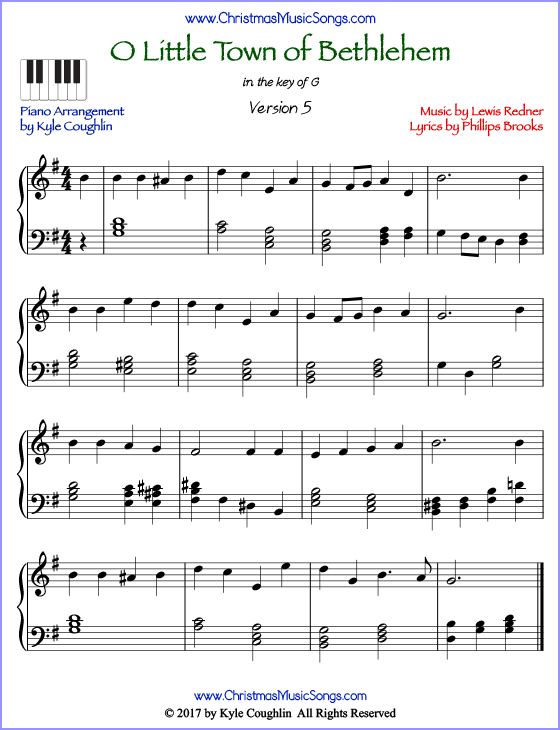 O Little Town of Bethlehem advanced piano sheet music. Free printable PDF at www.ChristmasMusicSongs.com