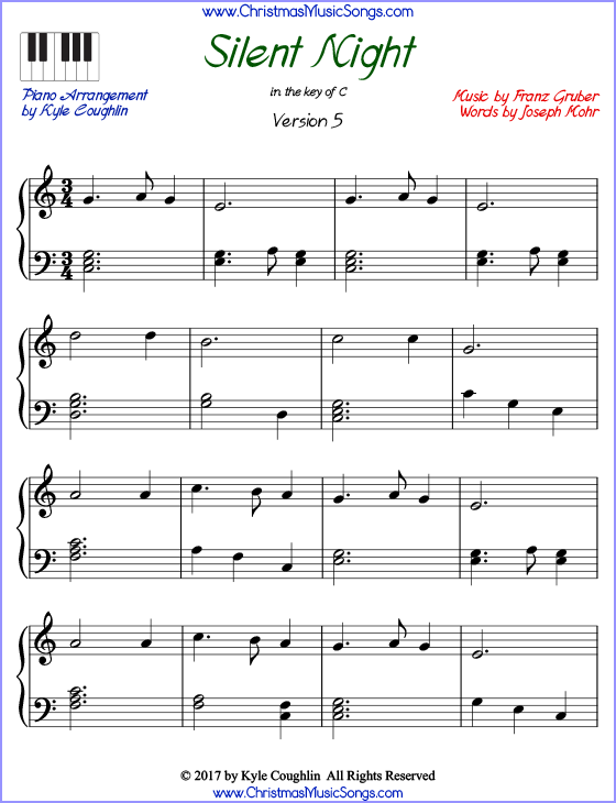 photograph about Christmas Songs Piano Sheet Music Free Printable named Peaceful Night time piano sheet new music - absolutely free printable PDF