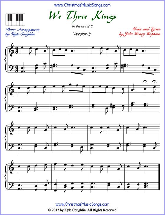We Three Kings piano sheet music - free printable PDF