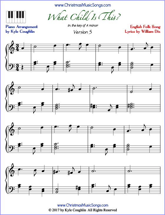 What Child Is This advanced piano sheet music. Free printable PDF at www.ChristmasMusicSongs.com