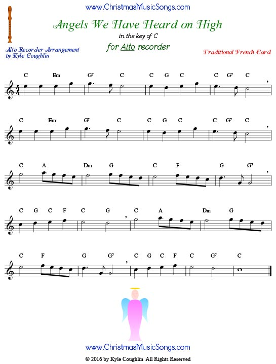 angels we have heard on high free sheet music for recorder