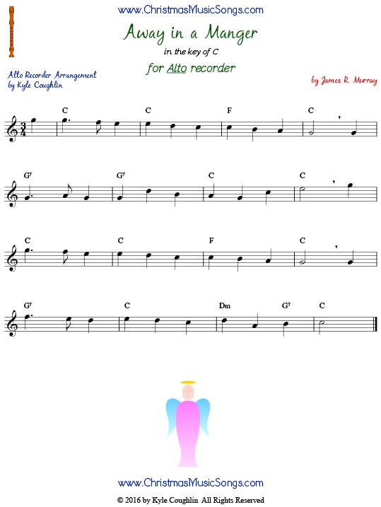 Away in a Manger for alto recorder, free printable PDF sheet music in the key of C. Version composed by James R. Murray.