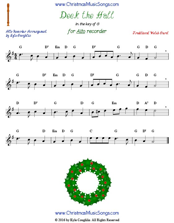 Christmas carol Deck the Halls sheet music for alto recorder, in the key of G.
