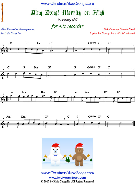 The Christmas carol Ding Dong! Merrily on High, arranged for alto recorder in the key of C.
