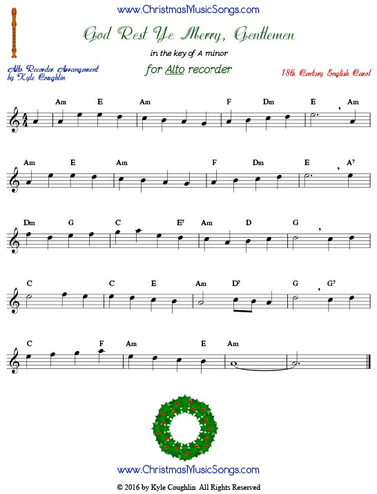God Rest Ye Merry Gentlemen for alto recorder in the key of A minor.