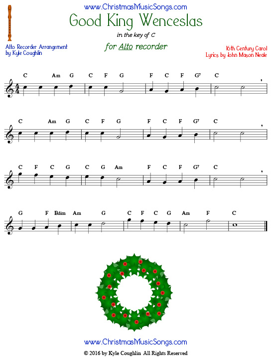 Good King Wenceslas for alto recorder in the key of C.