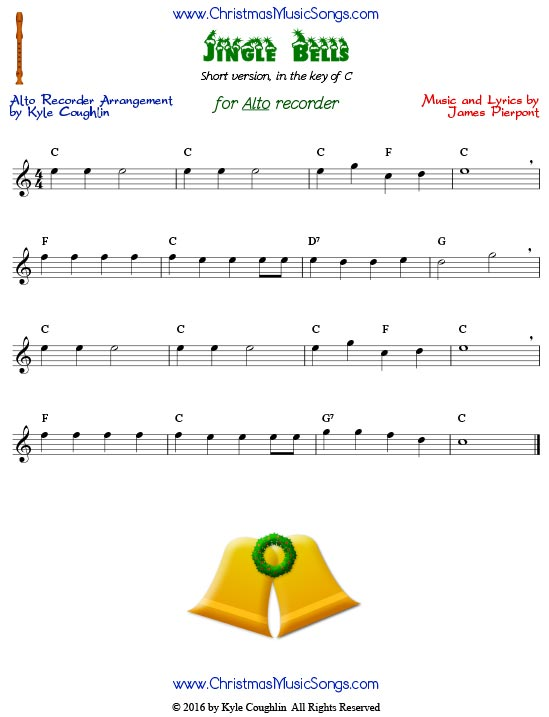 Short, easy version of Jingle Bells for alto recorder, in the key of C.