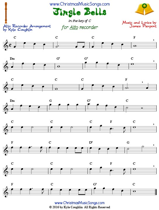 Jingle Bells for alto recorder in the key of C.