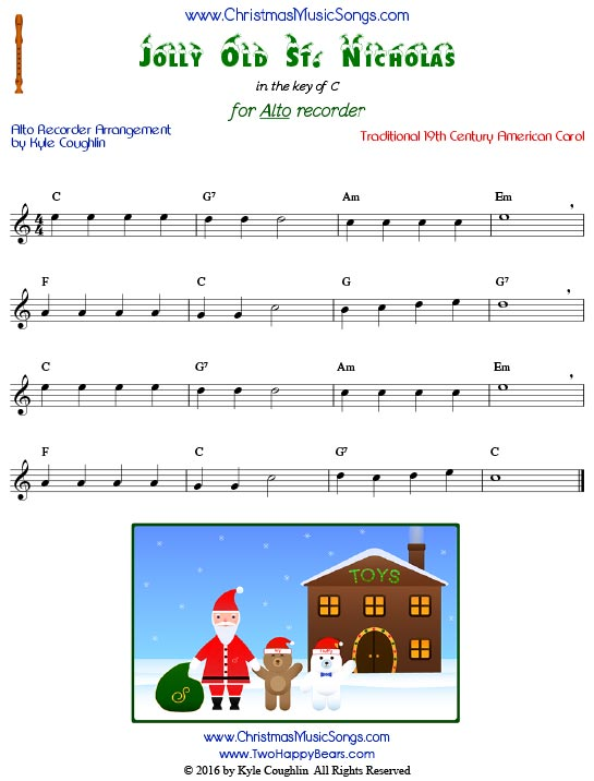 Jolly Old St. Nicholas for alto recorder in the key of C.